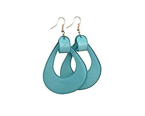 JOYID Acrylic Dangle Earrings Oval Geometry Hoop Earrings Resin Polished Drop Earrings For Women Girls-light Blue