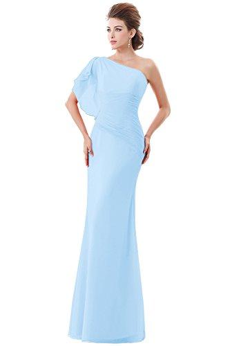 Dora Femmes De Mariée Une Robes De Soirée Sirène En Mousseline De Soie Épaule Avec Bleu Ciel Volants