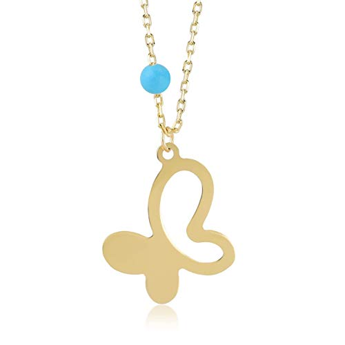 Gelin 14k Yellow Gold Dainty Butterfly Pendant Chain Necklace with a small Turquoise stone - Women Fine Jewelry Gift, 18 -