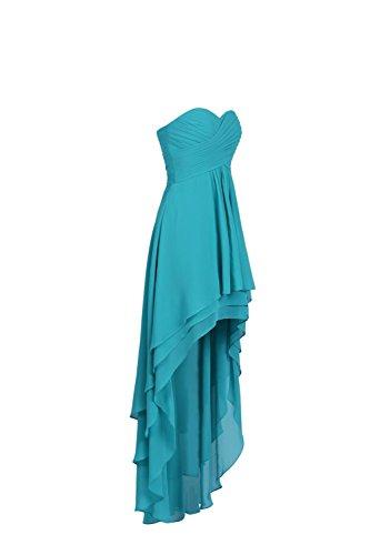 YiYaDawn Asymmetrisches Trägerloses Abiballkleid Partykleid für Damen Cyan R287sbvLP
