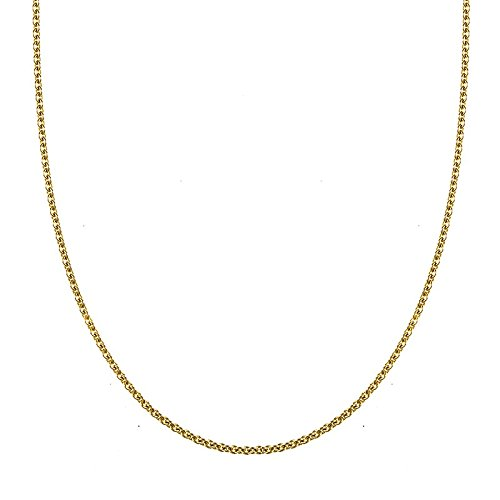 18k Yellow Gold Cable 3mm Chain Lobster Claw Clasp Necklace - 30 Inch ()