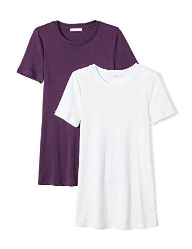 Daily Ritual Womens Midweight 100% Supima Cotton Rib Knit Short-Sleeve Crew Neck T-Shirt, 2-Pack