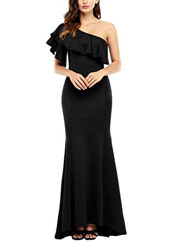 Sidefeel Women Ruffle One Shoulder Elegant Mermaid Long Evening Dress Medium Black