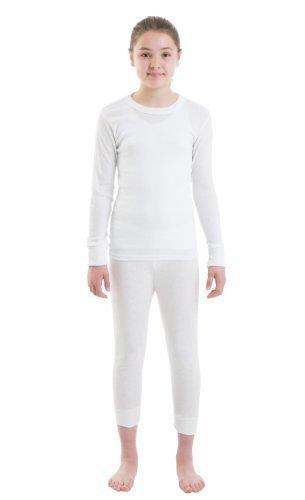 Mädchen Thermo-Unterwäsche - Langarm Weste u. lange Jane (Thermal Leggings) - Weiß/Rosa