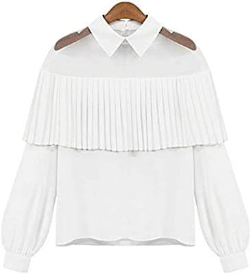 RBDSE Camisa Moda Mujer Elegante Blanco Blusas Gasa Peter Pan Cuello Casual Camisa para Mujer Tops Escuela Blusa Mujeres más el tamaño, XXL, Blanco: Amazon.es: Deportes y aire libre