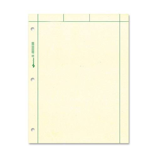 NATIONAL Brand Computation Pad, Plain & 5 X 5 Quad On Back, Green Paper, 8.5 x 11