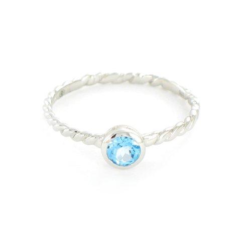Tous mes bijoux - BATO02010 - Bague Femme - Rond - Or blanc 375/1000 0.85 gr - Topaze bleue 0.34 cts