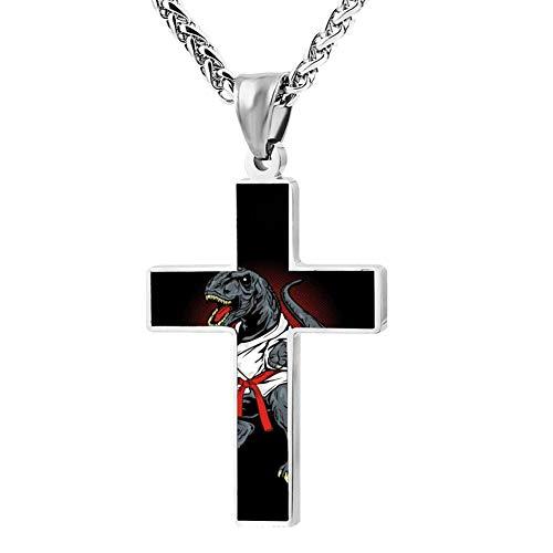 Wanperd Custom Karate T-Rex Cross Pendant Necklace Zinc Alloy Necklace Christian Religious Jewelry for Men/Women