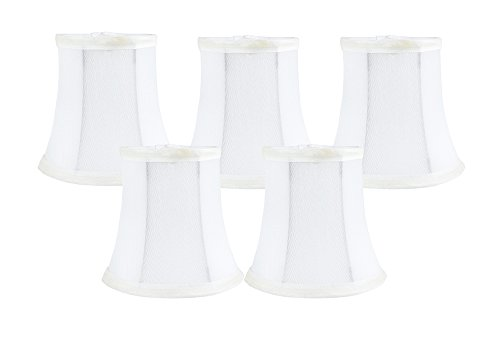 Meriville Set of 5 Off White Faux Silk Clip On Chandelier Lamp Shades, 3.5-inch by 5-inch by 4.75-inch ()