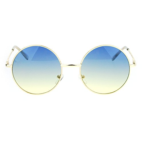 2 Tone Color Lens Retro Vintage Style Round Circle Hippie Groovy Sunglasses Blue Yellow ()
