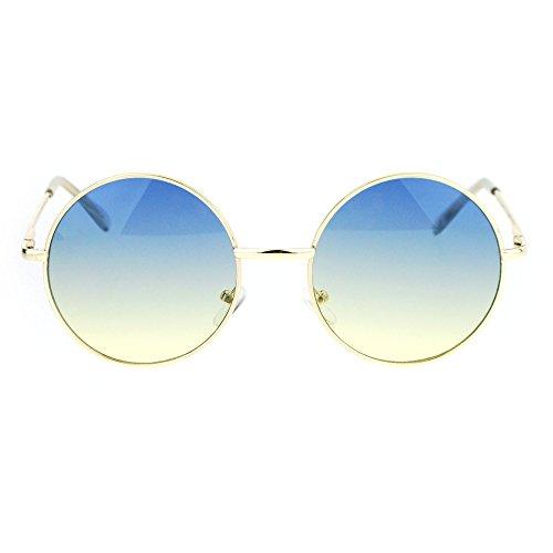 2 Tone Color Lens Retro Vintage Style Round Circle Hippie Groovy Sunglasses Blue - Hippie Sunglasses Circle