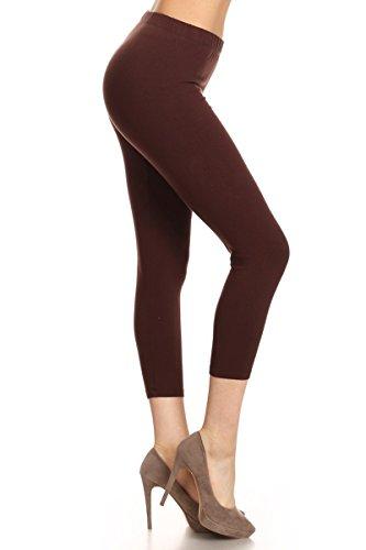 Leggings Depot NCL27-Brown-Medium Solid Capri Yoga Pants