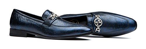 Lisse Chaussures Peu Métallique Cuir Détail Hommes Plat De Mocassin Z0905blue Opp Formelles qCCrwUE