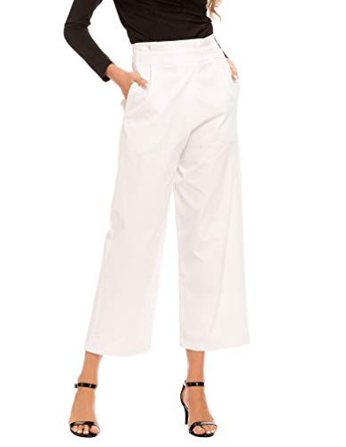 (MiXiaoJie Women's High Waist Casual Loose Fit Wide Leg Cropped Pants with Pockets-White Large)