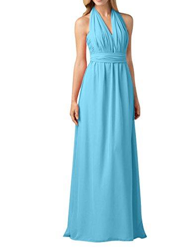 Chiffon Brau Festlichkleider Abendkleider Einfach Brautjungfernkleider A Linie mia Blau Rock Langes La Partykleider qZB5tt