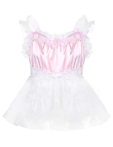 inlzdz Men's Sissy Crossdress Lingerie Frilly Satin Lace Tulle Mini Dress Smooth Nightdress Babydoll Pink Large -