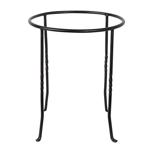 (Achla Designs FB-14 Ring Wrought Iron Metal Plant birdbath Bowl Stand Flowerpot Holder, Black)