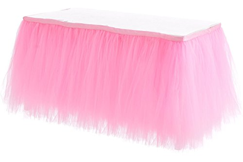 Baby Shower Table Cover - HBB Kids Handmade Tutu Tulle Table Skirt Cover for Girl Princess Birthday Party, Baby Shower, Slumber Party & Home Decoration-Beautiful, Eye Catching & Unforgettable Party Centerpiece, 1 yd, Pink