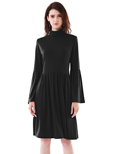 MiYang-Turtleneck-Loose-Tunic-Top-Casual-Swing-Mini-Dress-For-Women-With-Trumpet-Sleeves-Black-Large