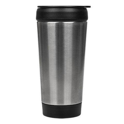 whatsnext Stainless Steel Travel Mug with Push Down Lid, 14 oz
