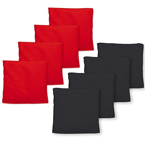 Real Corn Filled Cornhole Bags - Set of 8 Bean Bags for Corn Hole Game - Regulation Size & Weight - Red and Black