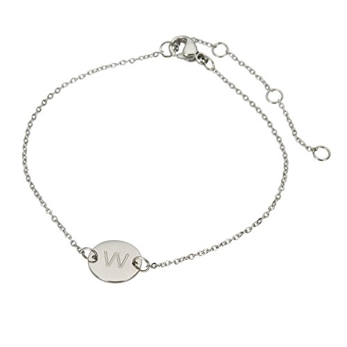 Price comparison product image HUAN XUN Stainless Steel Little Charm Initial Bangle Bracelet W