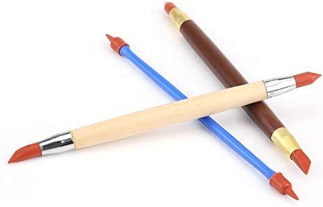 シリコンクレイペン、シリコンポリマーヘッド陶器粘土彫刻モデリングペン削除トレースDIYツール