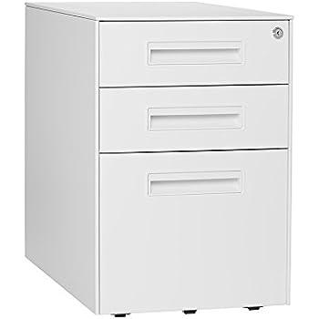 Stockpile Square Mobile 3 Drawer File Cabinet (White)