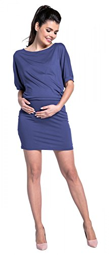 Zeta Ville - Premamá vestido tejido elástico mangas murciélago - para mujer-700c Azul Gris