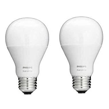 Philips 455295 Hue White A19 Single LED Bulb, 60W Equivalent, 2-Pack, Works with Amazon Alexa