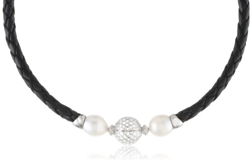Sterling Silver Openwork Bead and Black Leatherette Freshwater Cultured Pearl Choker Necklace, 17.75