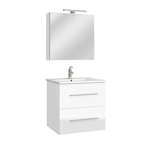 Badmöbel Bad Möbel Set Hochglanz Badezimmer Spiegel Waschbecken Unterschrank  LED 60/ 90cm (Weiß, 60cm): Amazon.de: Küche U0026 Haushalt