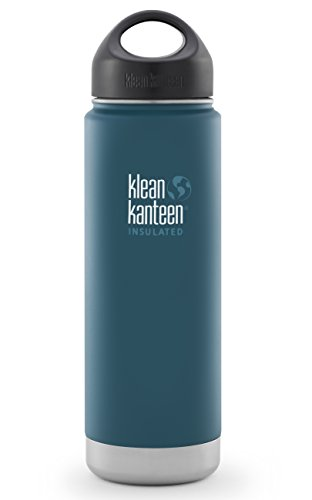 Klean Kanteen Wide Mouth Insulated Water Bottle with Loop Cap - 20 Ounce Neptune Blue ()