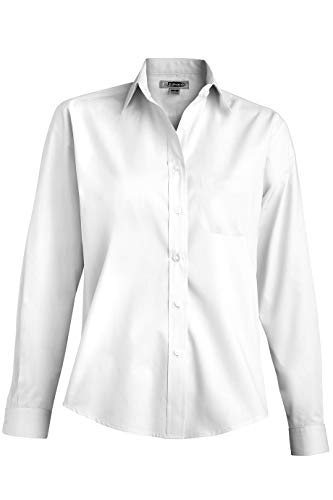 (Edwards Ladies' Long Sleeve Value Broadcloth Shirt Large White)