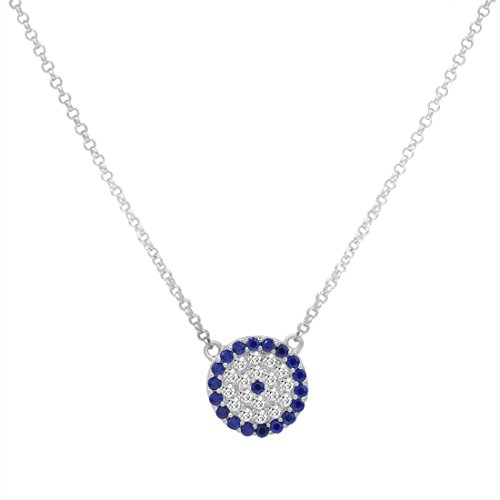 te Sapphire Evil Eye Necklace in Sterling Silver (Blue Evil Eye Necklace)