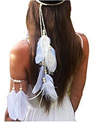 (Set of 2 White Bohemian Feather Tassels Headband with Armband Gypsy Hippie Peacock Headwear Headdress Woman Girls Favorite Hair)