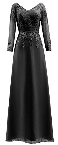 V Bride of Sleeves Lace Long Black Neck Dress The Gown Mother Women Evening MACloth fxqwzZaX0w