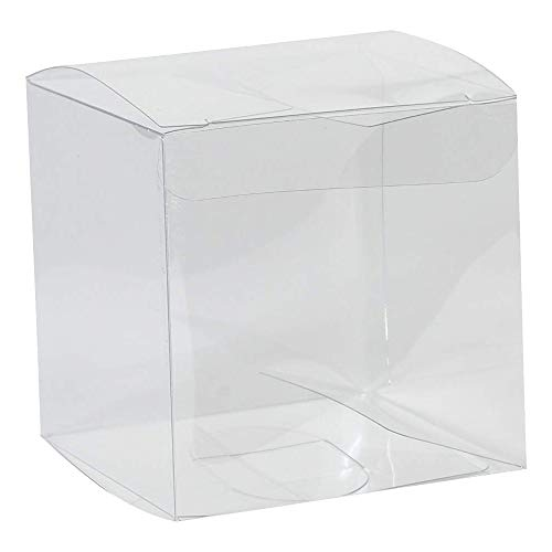 "(Clear Plastic Candy Boxes – Transparent, Empty Containers Ideal Packing Box for Wedding, Birthday, Anniversaries Parties 2""x2""x2"" (24)"