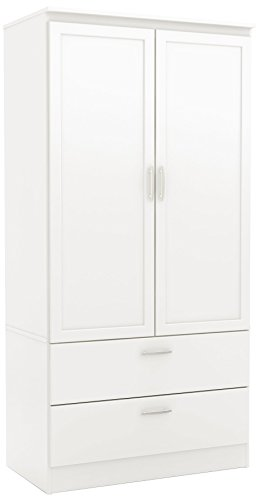 South Shore 5350038 2-Door Wardrobe Armoire with Adjustable Shelves and Storage Drawers, Pure White (Armoire White Wardrobe)
