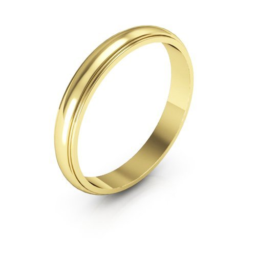 10K Yellow Gold men's and women's plain wedding bands 3mm half round edge, 6 by i Wedding Band