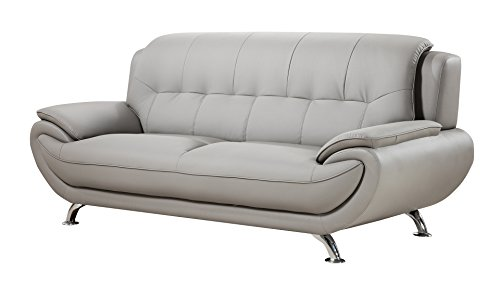 American Eagle Furniture Highland Faux Leather Living Room Sofa with Pillow Top Armrests, Gray ()