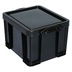 Really Useful Box(R) Plastic Storage Box, 32 Liter, 95% Recycled, 19in. x 14in. x 12in, Black