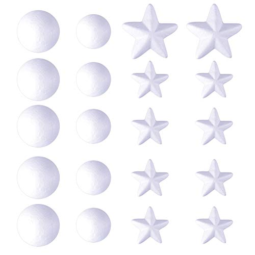 WXJ13 20 Pieces 2 Size White Foam Craft Balls and 2 Size Craft Foam Stars, for DIY Crafting Decoration, Christmas Ornaments, Wedding Decor