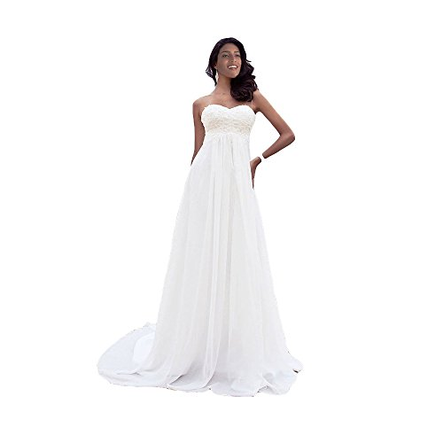 Westcorler A Line Chiffon Beach Wedding Dress Sweetheart Court Train lace Bridal Gown (us14, White)
