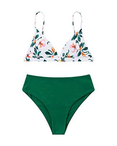 MOSHENGQI Women Cheeky Bikini Sets Padded Brazilian Top High Cut Bottom Floral 2 Piece Swimsuits (Small, Green Floral)