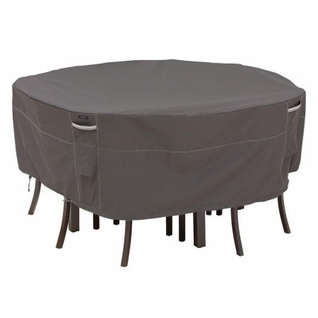 "Classic Accessories Ravenna Round Table and Chair Fits up to 94"" Diameter, Taupe"