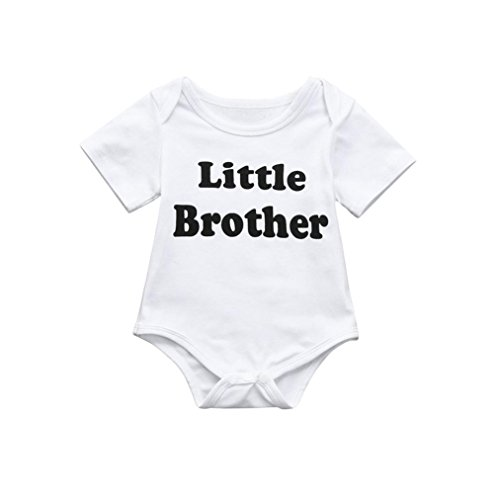CieKen Infant Baby Brother Matching Letter Print Short Sleeve T-Shirts+Print Romper Jumpsuit Brother Clothes Outfit (White -1, 6M) - Baby Boy Postage