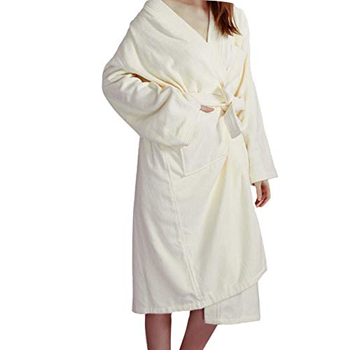 Junlai Pure Cotton Bathrobe Long Sleeved Deluxe Towel Unisex Bathrobe for Hotel Home (Beige, L)