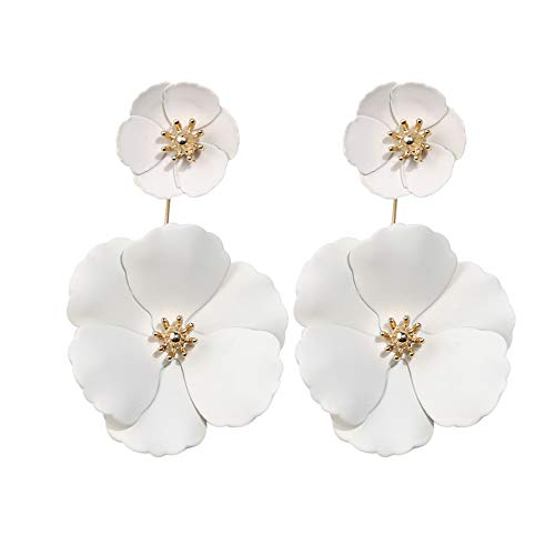 Boho Stud Earrings for Women - Chic Flower Statement Earrings with Gold Flower Bud, Great for Sister, Mom, Lover and Friends (Layer White)