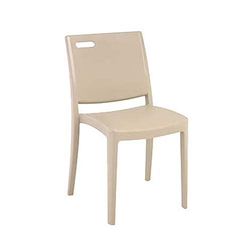 Grosfillex US356581 Metro Stacking Side Chair, Linen (Case of 4) by Grosfillex (Image #1)